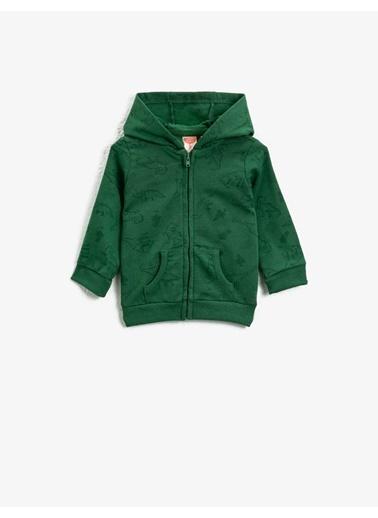 Koton Pamuklu Kapüsonlu Uzun Kollu Desenli Sweatshirt Yeşil